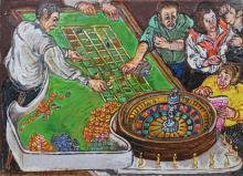 Moreno Pincas b. 1936 (Israeli) Casino oil on canvas