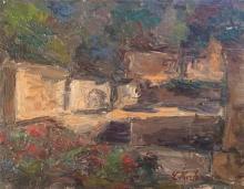 Leo Kahn 1894-1983 (Israeli) Landscape oil on board