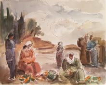 Leo Kahn 1894-1983 (Israeli) Artist's sketchbook including 10 watercolors of different subjects- Kineret Landscape, Still life- and...