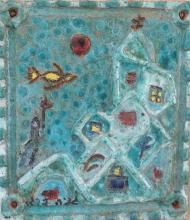 Genia Berger 1907-2000 (Russian, Israeli) Bird in landscape painted ceramic