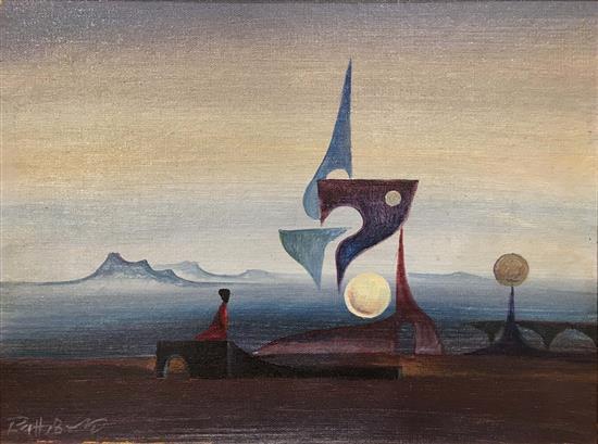 Abraham Path 1938-2013 (Israeli) Figure in surrealistic landscape oil on board