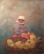 Hungarian school 20th c. Market woman selling cauliflower oil on board