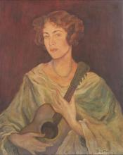 Strasser 20th century A woman is playing the guitar oil on canvas