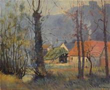 Unidentified artist 20th century Farmhouse oil on canvas