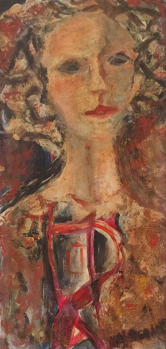 Leah Dganit b. 1926 (Israeli) Young woman oil on board