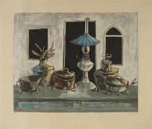 Yosl Bergner b.1920 (Israeli) Still life with blue lamp print
