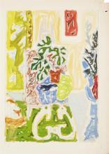 Jean Jules Louis Cavailles 1901-1977 (French) Still life with flowers, c.1950 gouache on Vidalon paper