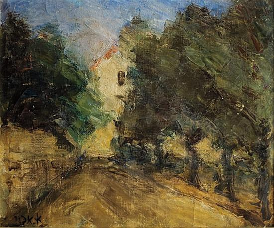 Aharon Avni 1906-1951 (Israeli) Wooded path and house oil on canvas
