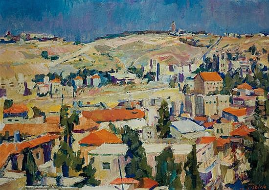 Aaron April b. 1932 (Lithuanian) Noontime in Jerusalem, 1973 oil on canvas