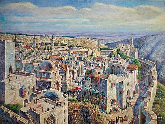 Nahum Gilboa 1917-1964 (Israeli) Jerusalem oil on canvas