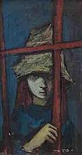 Esther Peretz Arad 1921-2005 (Israeli) Woman looking through the window oil on canvas
