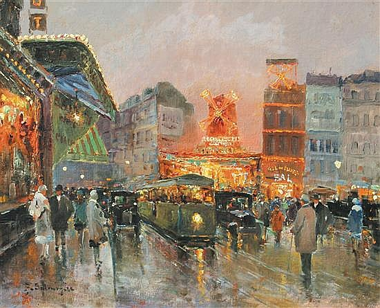 **Paul-Marcel Candies Balmigere 1882-1953 (French) Scène nocturne à Pigalle oil on canvas