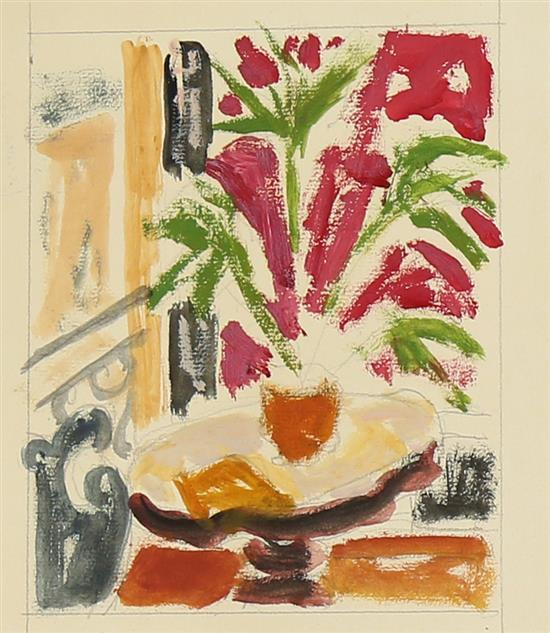**Jean Jules Louis Cavaillטs 1901-1977 (French) Flowers on the table oil and pencil on paper