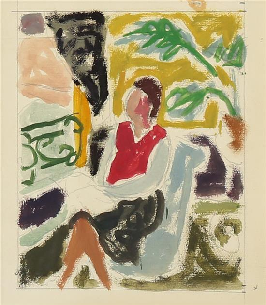 **Jean Jules Louis Cavaillטs 1901-1977 (French) Woman seated in inteior oil and pencil on paper