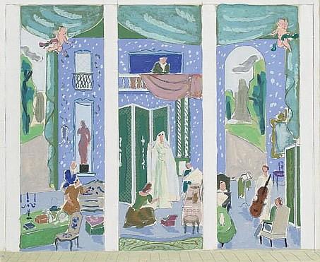 **Jean Jules Louis Cavaillès 1901-1977 (France) La mariae Deux projets de paravent gouache on paper
