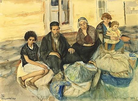 **Maurycy Minkowski 1881-1930 (Israeli/ Polish) Family, 1927 watercolor on paper laid on board