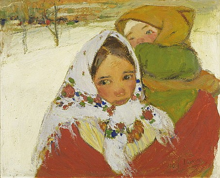 **Abel Pann 1883-1963 (Israeli, Latvian) Young girl and boy in the snow oil on board