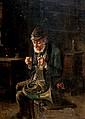 **Hermann Armin Kern 1839-1912 (Hungarian) A peaceful moment oil on cardboard