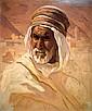 Adam Styka 1890-1959 (Polish) Arab's head oil on cardborad