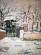**Maurice Utrillo 1883-1955 (French) Moulin de la Galette sous la neige, Montmartre, c. 1926-28 gouache on paper mounted on canvas