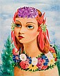 **Moise Kisling 1891-1953 (Polish, French) Petite tête fleurie, 1939 oil on canvas