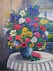 Heddy Kun b. 1932 (Yugoslavian, Israeli) Vase of flowers oil on canvas, Heddy Kun, Click for value