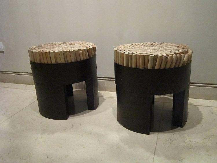 Kenneth Cobonpue Chiquita stool made of rattan, polyurethane foam and steel