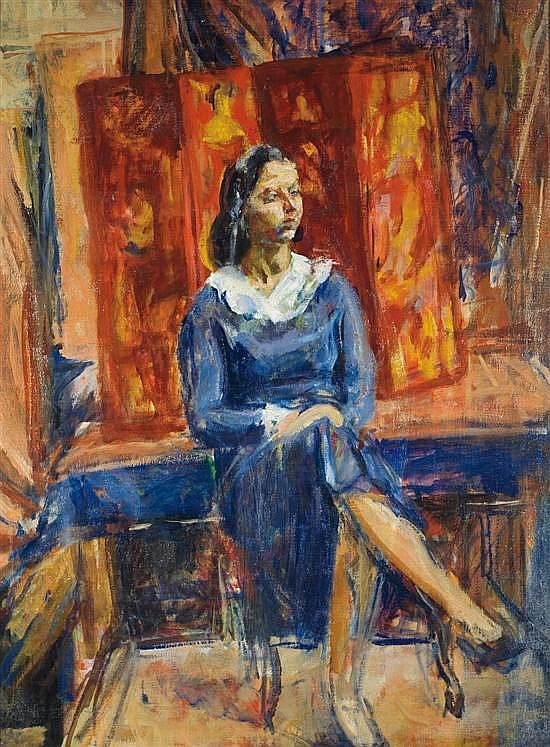 **Isaac Dobrinsky 1891-1973 (Russian) Woman thinking oil on canvas