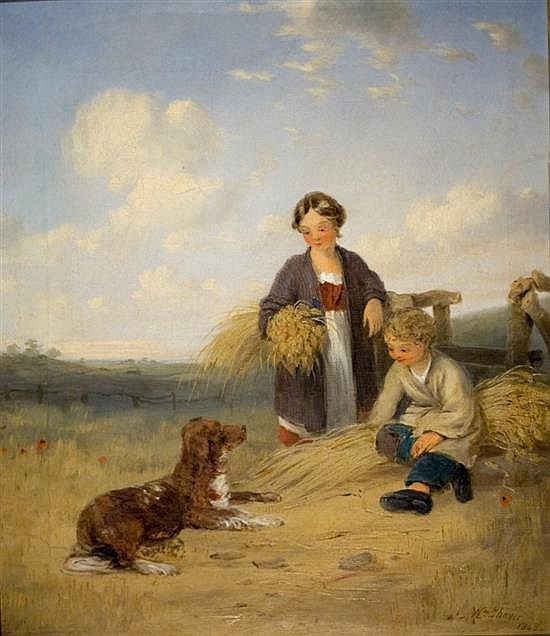 William the Elder Shayer 1787-1879 (British) Mother and child with a dog, 1840 oil on canvas