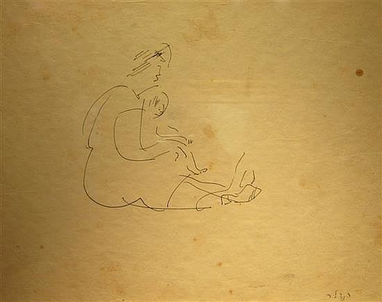 David Hendler 1904-1984 (Israeli) Mother and child pen on paper