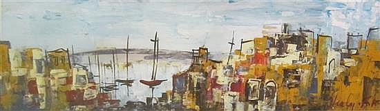 Shaul Ohaly 1922-2003 (Israeli) Port landscape oil on paper