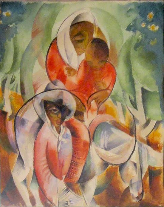 Moshe Matus (Matusovski) 1908-1958 (Israeli) Women and child in cubist composition gouashe on paper