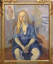 Moses Soyer 1899-1974 (American) Seated woman oil on canvas