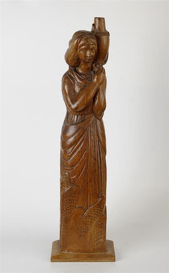 **Ernestine Sirine-Real 1899-1994 (French) La porteuse d'eau wood sculpture