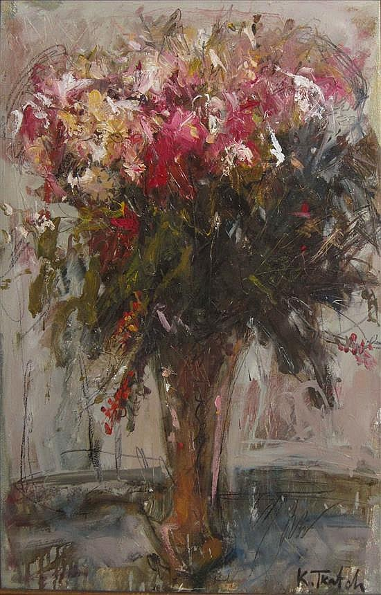 Kim Tkatch b. 1963 (Ukrainian) Vase of flowers oil on canvas