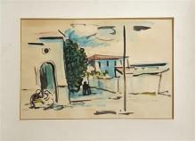 David Hendler 1904-1984 (Israeli) Village watercolor on paper