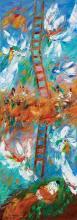 Ben Avram b.1937 (Israeli) Jacob's ladder oil on canvas