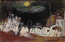 Esther Peretz Arad 1921-2005 (Israeli) Village at night oil on cardboard