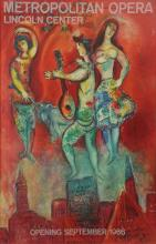 **Marc Chagall 1887-1985 (Russian, French) Metropolitan Opera, Lincoln center, Opening September, 1966 color lithograph poster, printe.