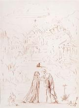 **Salvador Dal? 1904-1989 (Spanish) Couple, 1948 pen and red ink on paper
