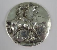 **Salvador Dal? 1904-1989 (Spanish) Unicorne Dionysiaque, 1966 silver medal (334g.), struck by the Workshops of the coins of Paris, Ma.