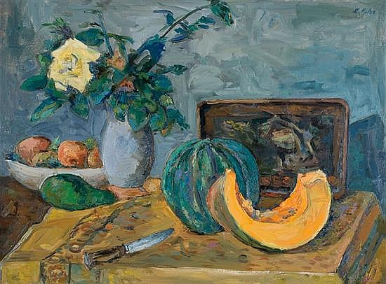 Leo Kahn 1894-1983 (Israeli) Still life with flowers and fruit on a table oil on canvas
