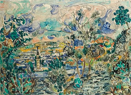 Menahem Shemi 1897-1951 (Israeli) Safed landscape oil on canvas