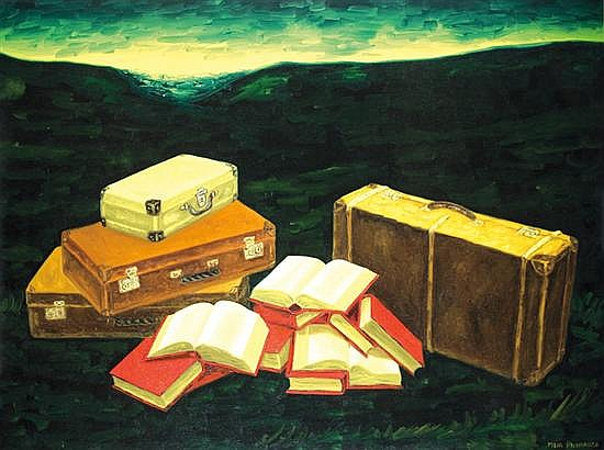 Meir Pichhadze 1955-2010 (Israeli) Books and suitcases oil on canvas