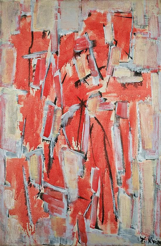 Yehiel Krize 1908-1968 (Israeli) Composition in red oil on canvas