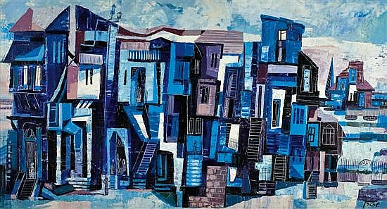 Yossi Stern 1923-1992 (Israeli) Blue houses oil on panel