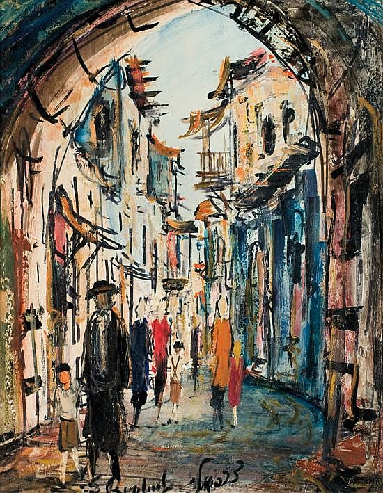 Zvi Raphaeli 1920-2005 (Israeli) Jerusalem street scene oil on masonite