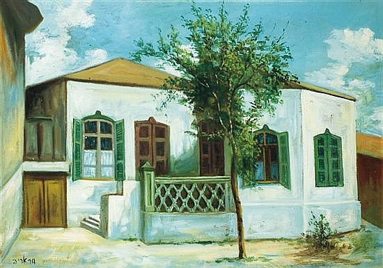 Meir Gur-Aryeh 1891-1951 (Israeli) Rabikov House, Neve-Zedek, 1925 oil on canvas