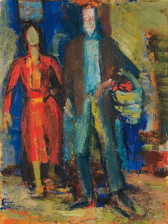 Eliahu Sigard 1901-1975 (Israeli) Two figures oil on canvasboard
