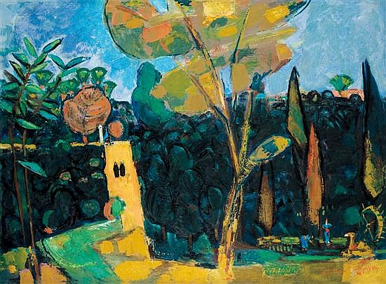 Nachum Gutman 1898-1980 (Israeli) House in grove, 1966 oil on canvas